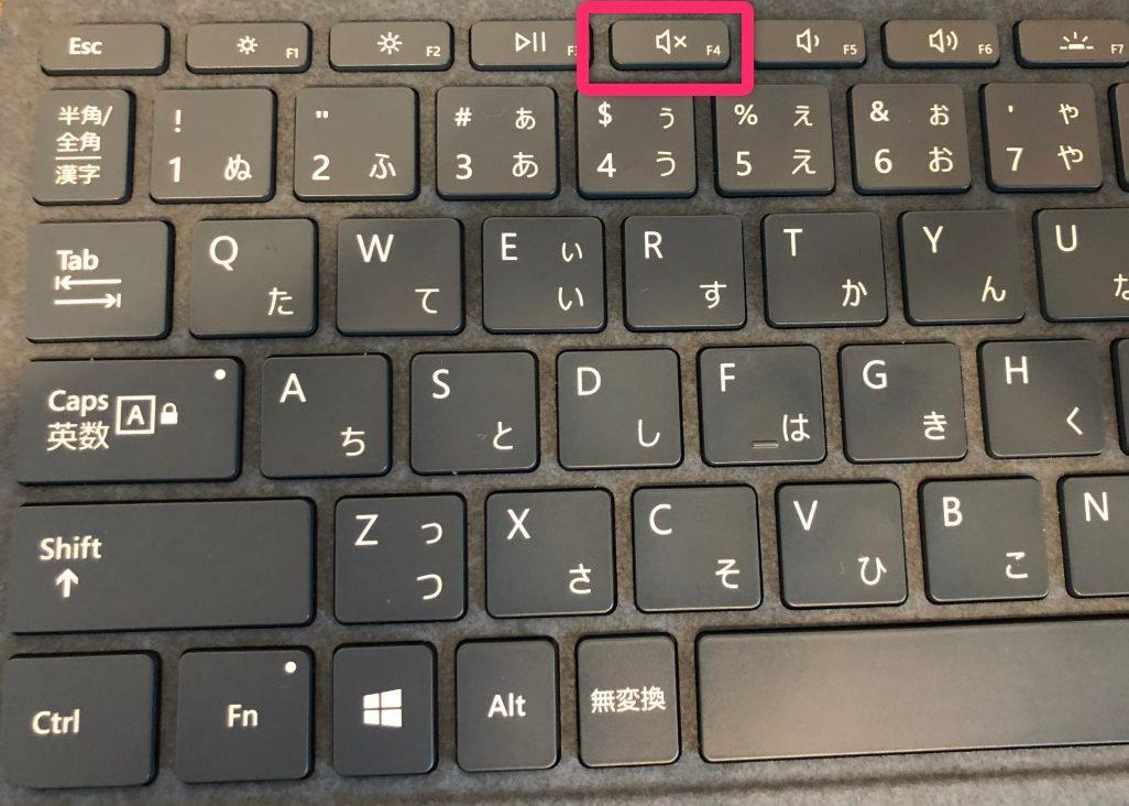 Surfaceキーボードの音量オフボタン