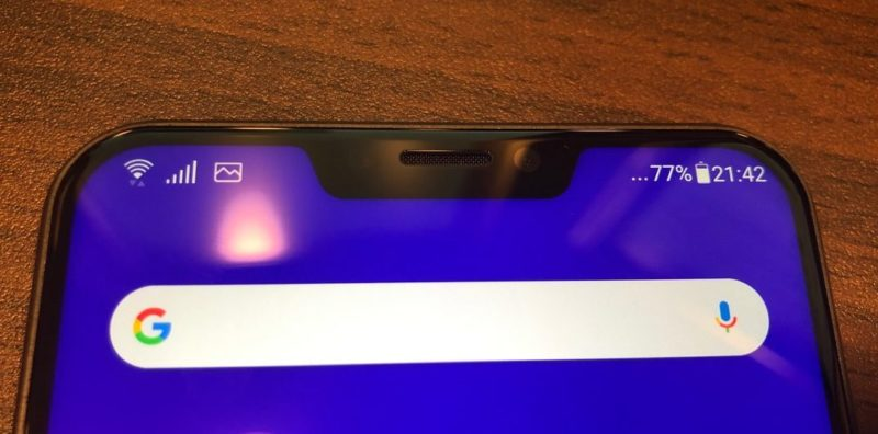 Zenfone5のノッチ部分
